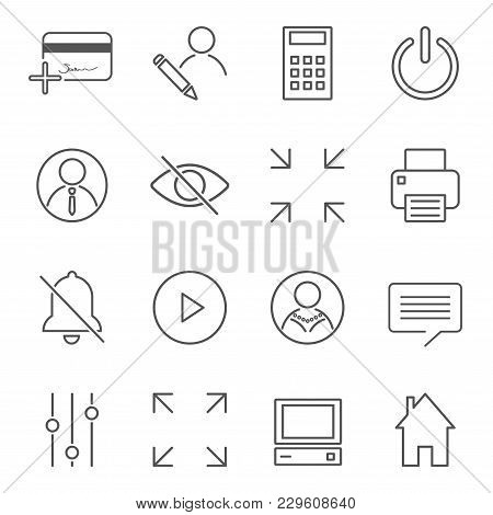 Vector Set Of 16 Linear Quality Icons Related To Business Management And Processes. Basic Mono Line