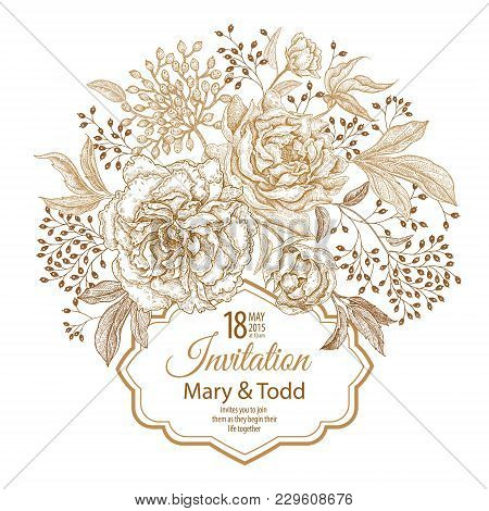 Vintage Frame With Flowers And Berries. Print Golden Foil On A White Background. Roses And Peonies I