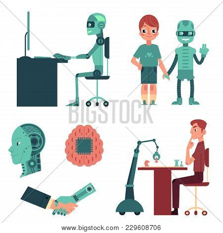 Artificial Intelligence Set - Robot As Companion, Friend, Android Head, Cyborg Playing Chess, Workin
