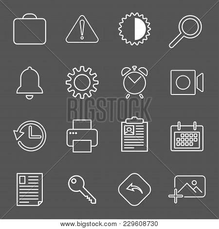 Set With Mail Icons In Modern Style. High Quality Symbols For Web Site Design And Mobile Apps. Simpl