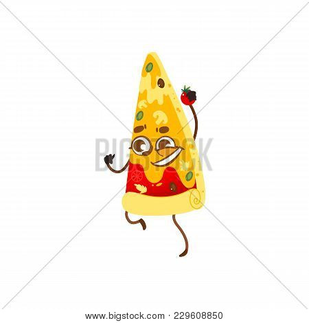 Funny Pizza Slice Character With Smiling Human Face Holding Tomato, Cartoon Vector Illustration Isol
