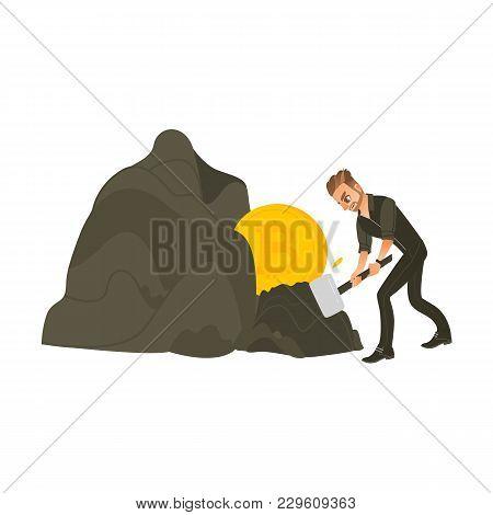 Man, Businessman Mining Bitcoin, Golden Btc Coins From Rock, Hard Working, Flat Cartoon Vector Illus