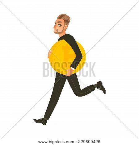 Man, Businessman Running, Hurrying With Giant Bitcoin, Btc, Flat Cartoon Vector Illustration Isolate
