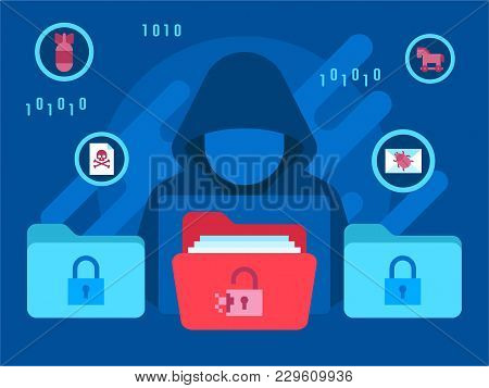 Hacker Internet Computer Security Technology Flat Concept Hacker Activity Computer And E Mail Spam