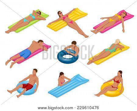 Isometric Man And Woman On Floating Air Mattress. Vector Illustration. Enjoying Suntan. Travel, Holi