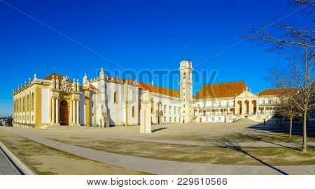 Coimbra, Portugal - December 23, 2017: Panoramic View Of The Old University Courtyard, With Visitors