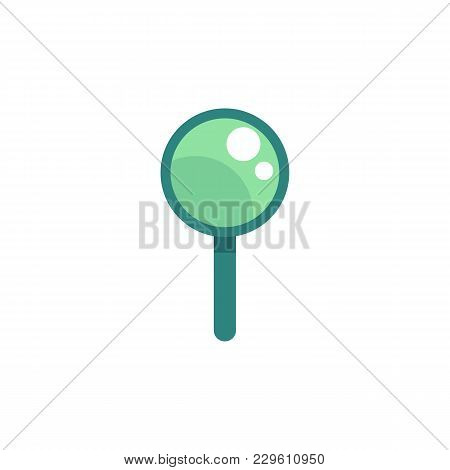Vector Flat Magnifying Glass Green Icon. Cartoon Magnifier, Optical Tool, Symbol Of Business Researc
