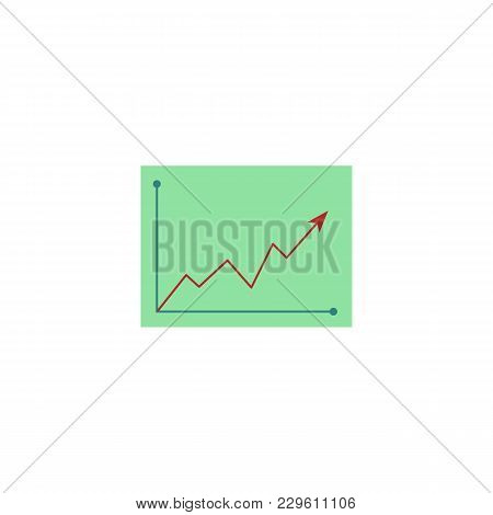 Vector Flat Graph Chart Icon. Abstract Financial Growth Diagram, Business Finance Data Report Presen