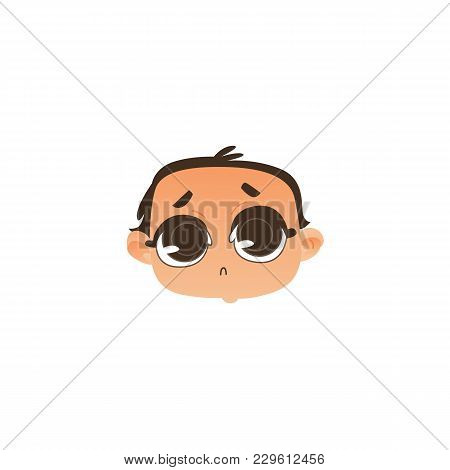 Comic Style Baby Face, Head Icon With Sad, Upset Expression And Wide Open Eyes, Flat Vector Illustra
