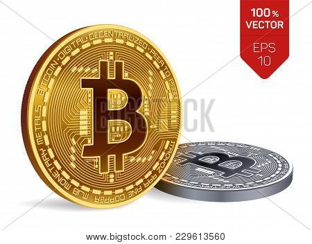 Bitcoin. 3d Isometric Physical Bit Coin. Digital Currency. Cryptocurrency. Golden And Silver Coins W