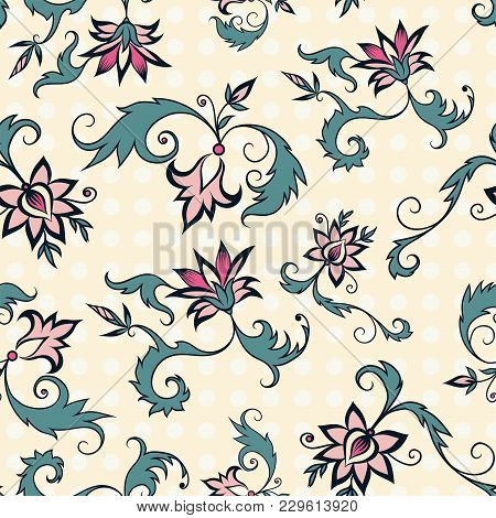 Trendy Seamless Floral Pattern In Vector On A Yellow Background
