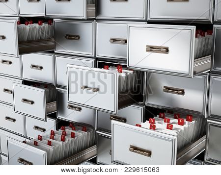 Library Catalogue Wooden Drawer With Letters. 3d Illustration.