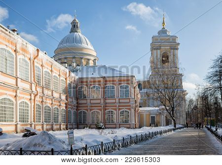 Holy Trinity Cathedral And The Dukhov Housing In The Alexander Nevsky Lavra, St. Petersburg, Russia