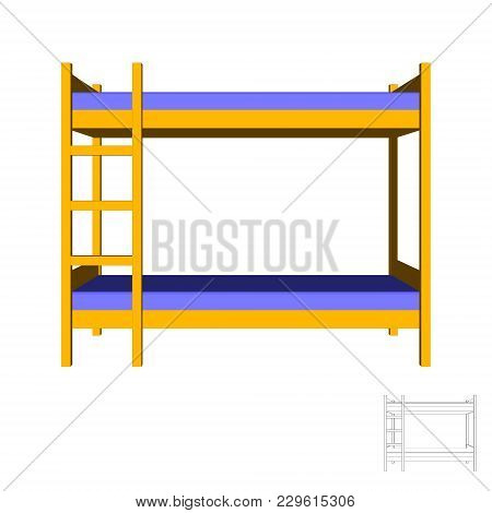 Bunk Bed. Isolated On White Background.3d Vector Colorful Illustration.front View.