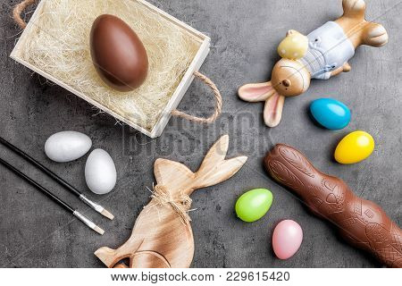 Variety Of Easter Decoration On A Rustic Background