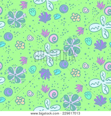 Doodle Seamless Pattern With Tender Blue And White Meadow Flowers. Lovely Floral Naive Texture With