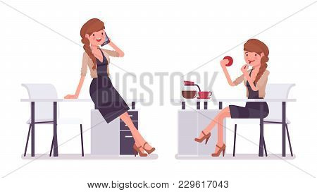Pretty Female Office Employee Sitting At Desk, Talking To Phone, Doing Make Up, Having A Break. Busi