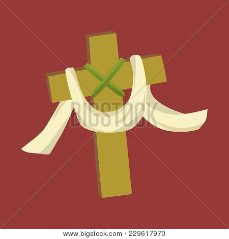 Cross With Cloth Isolated On White Background Vector Illusatration, Christianity Religius Symbol Of