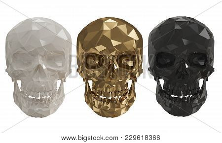 The Low Poly Skulls With White Background 4k