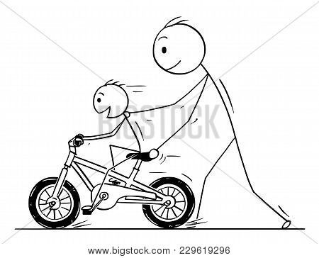 Cartoon Stick Man Drawing Conceptual Illustration Of Father Teaching And Son Learning To Ride A Bicy