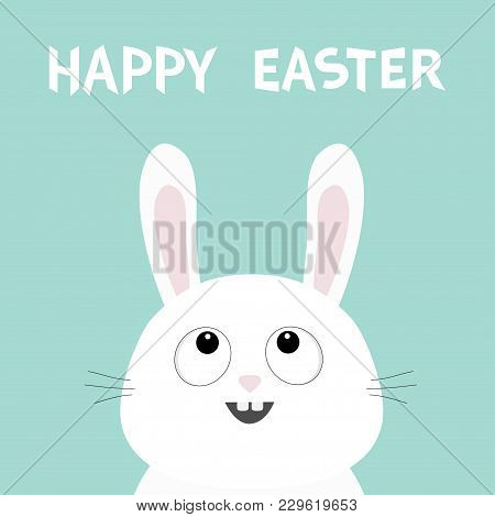 White Bunny Rabbit Head Face Looking Up. Happy Easter. Picaboo. Flat Design. Big Ears. Cute Kawaii F