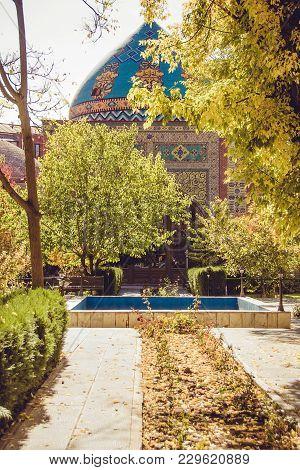 Blue Mosque. Elegant Islamic Masjid Building. Travel To Armenia. Touristic Architecture Landmark. Si