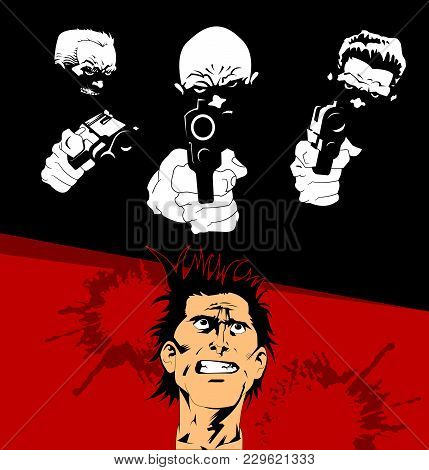 Four Criminals With Three Pistols On A Black Background, Vector And Illustration