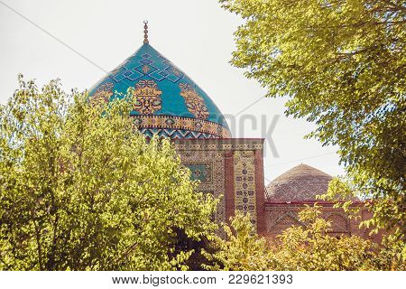 Elegant Islamic Blue Mosque Building. Travel To Armenia, Caucasus. Touristic Architecture Landmark.