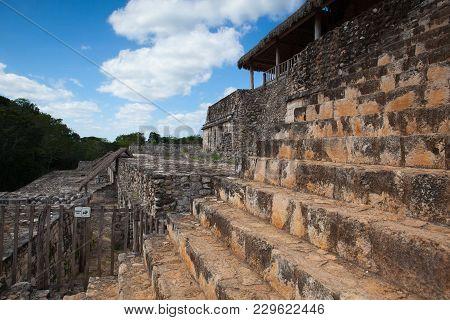 Very Steep Stairs In Majestic Ruins In Ek Balam. Ek Balam Is A Yucatec-maya Archaeological Site With