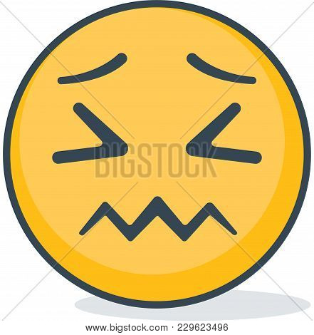Isolated Confused Emoticon. Isolated Vector Emoticon On White Background.
