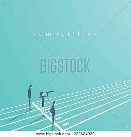 Business Competition Vector Concept With Businessman And Businesswoman On Running Track. Symbol Of R