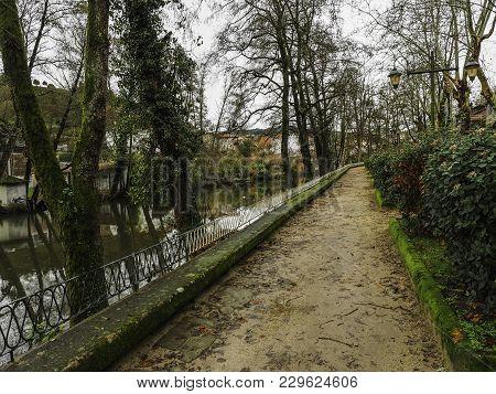 Walk Through The Park Along The River In The Village Of Allariz, Galicia, Epaña