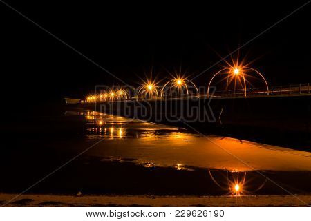 Southport Pier At The Night Time In Great Britain