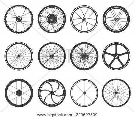 Bicycle Wheels Set. Circular Frame Of Hard Material For Vehicle, City, Lightweight Bike Component. V