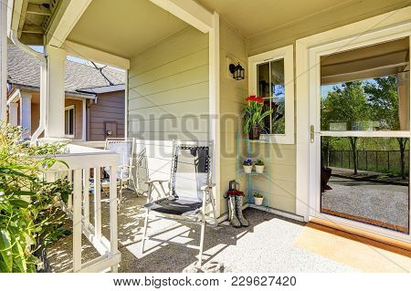 Charming Front Porch Of A Freshly Remodeled Home.