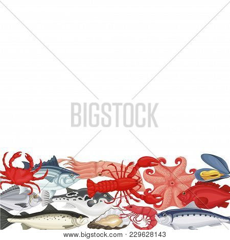 Seafood Background Copyspace. Shellfish And Sea Fish, Served As Food, Seafood Cuisine And Dishes Res