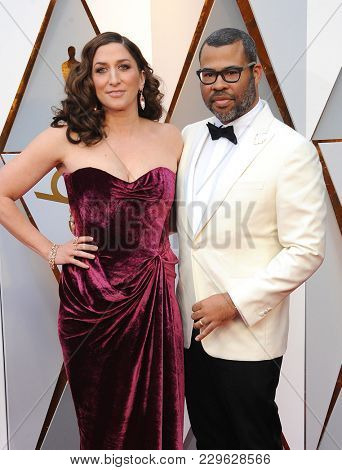 Jordan Peele and Chelsea Peretti at the 90th Annual Academy Awards held at the Dolby Theatre in Hollywood, USA on March 4, 2018.