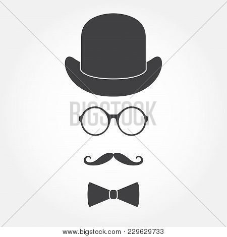Glasses, Hat, Mustache And Bowtie. Old Fashioned Gentleman Accessories Icon Set. Vintage Or Hipster