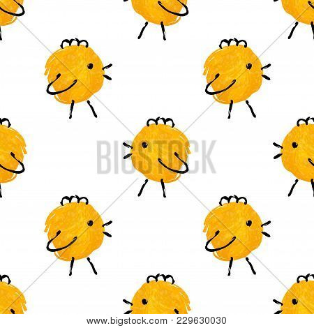 Seamless Pattern With Cute Hand Drawn Baby Chickens. Child Drawing Imitation. Ink Strokes. Vector Il