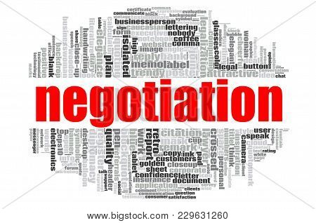 Negotiation Word Cloud Concept On White Background, 3d Rendering.