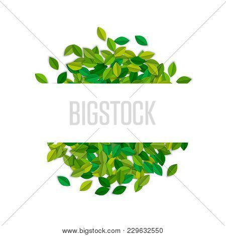 Empty Sign Template With Green Tree Leaves In Paper Cut Style. Copy Space Card Label On Leaf Pile Fo
