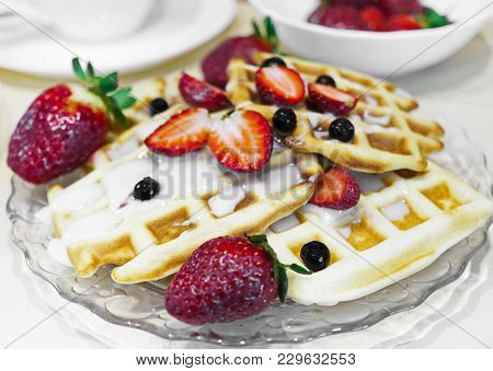 Viennese Waffles. Home-made Waffle Baking. Waffles With Berries