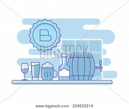 Bar Assortment.outline Alcohol On Bar Table. Vector Background With Different Bottle And Glasses For