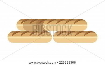 Long Fresh French Delicious Baguettes Made Of Wheat Flour. Hot Freshly Baked Bread Of Oblong Shape.