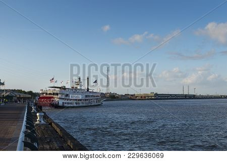 New Orleans, Louisiana - June 18, 2014: View Of The Mississippi River From The City Of New Orleans R