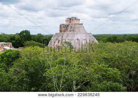 The Pyramid Of Magician (el Adivino) Located In Yucatan, Mexico. This Pyramid Is The Tallest And Mos