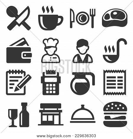 Restaurant , Cooking And Kitchen Icons Set. Vector Illustration