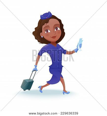 Stewardess Cartoon Character, Airline Crew Member, Cute African Girl In Blue Uniform, Vector Illustr