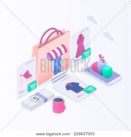 Isometric E-commerce, Online Shopping And Retail, Electronic Shops, Internet Of Things Concept.