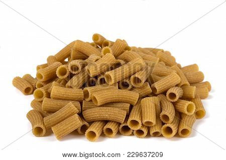 Rustic Rigatoni Pasta Isolated On White Background
